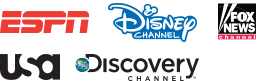 Logos for ESPN, Disney Channel, Fox News, USA, and Discovery Channel